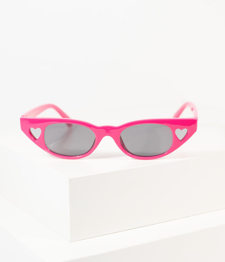 1950s Style Hot Pink Cat Eye Heart Sunglasses