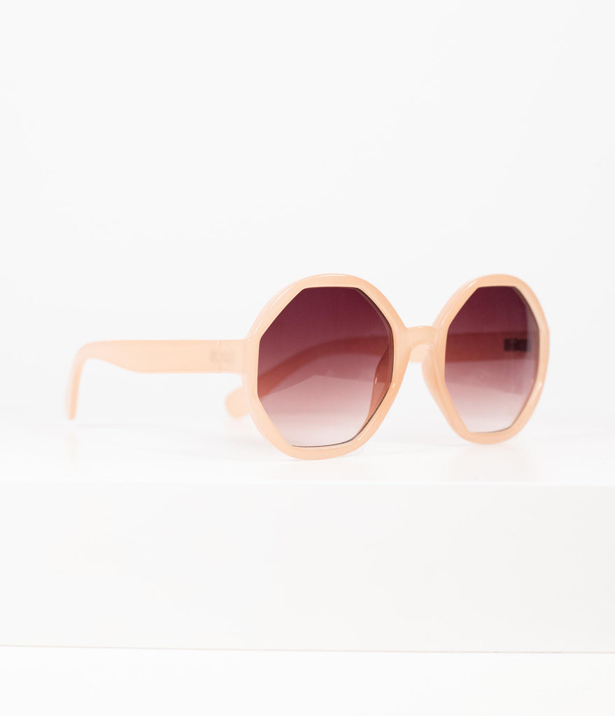 1960s Style Beige Geometric Mod Rounded Sunglasses