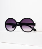 1960s Style Black Geometric Mod Rounded Sunglasses