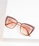 Retro Style Brown Glitter Badaboom Cat Eye Sunglasses
