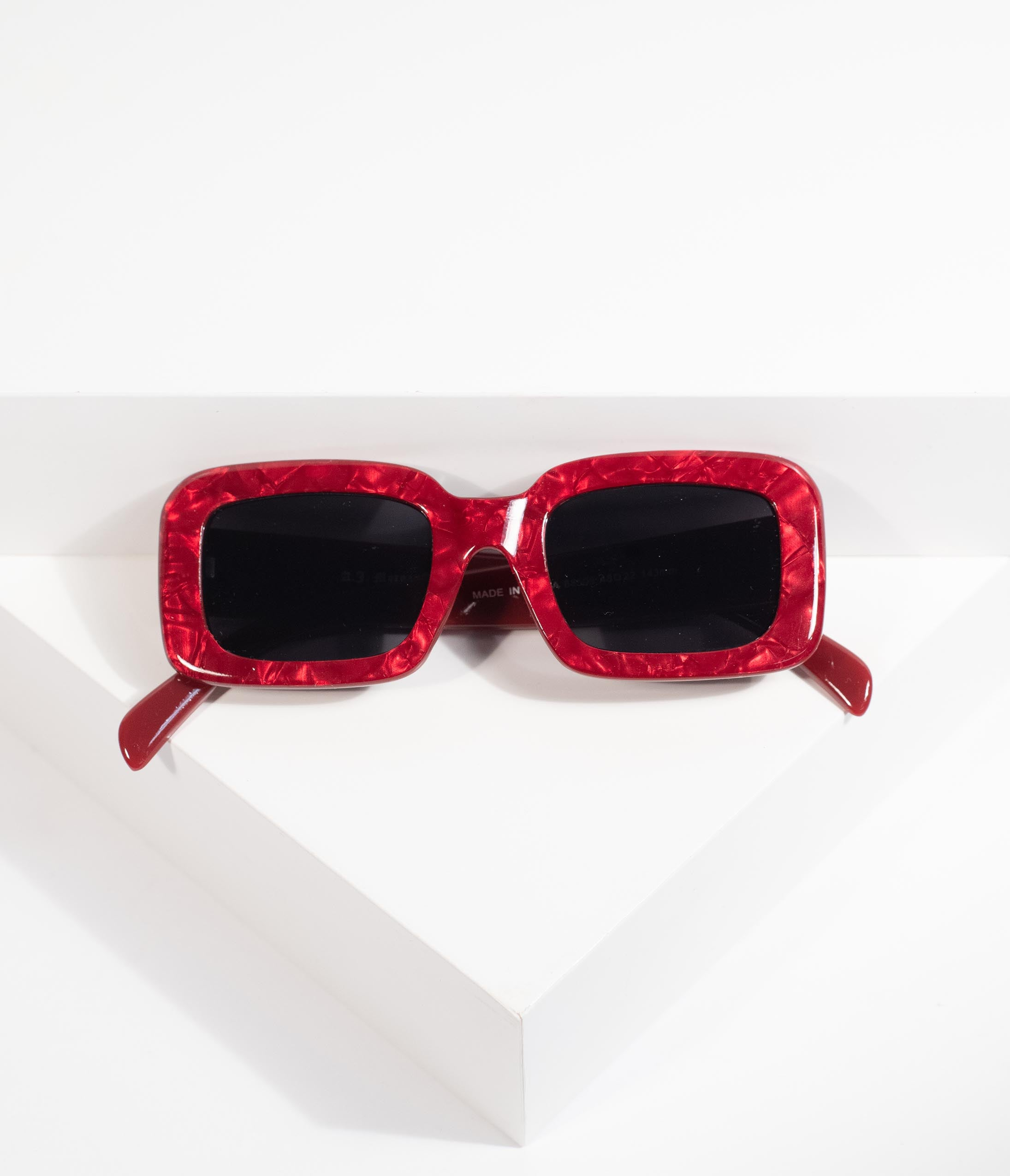 1960s Sunglasses | 70s Sunglasses, 70s Glasses Retro Style Red Marble Museum Square Sunglasses $22.00 AT vintagedancer.com