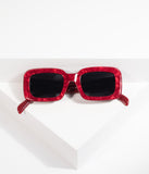Retro Style Red Marble Museum Square Sunglasses