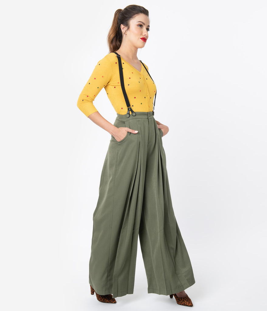 Voodoo Vixen 1940s Style Army Green Wide Leg Pleated Suspender Trousers