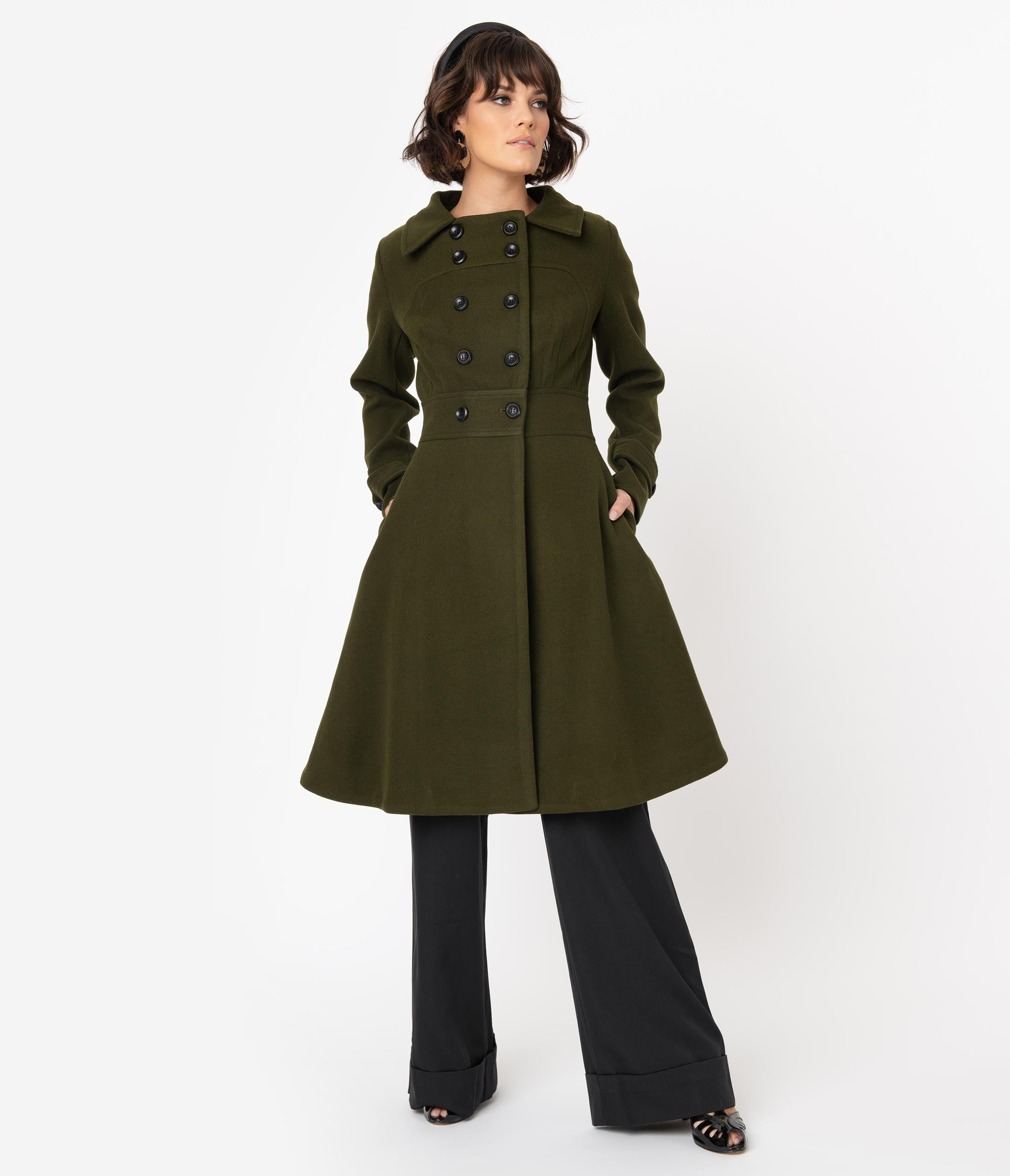 70s Jackets & Hippie Vests, Ponchos Voodoo Vixen Army Green Double Breasted Military Coat $148.00 AT vintagedancer.com