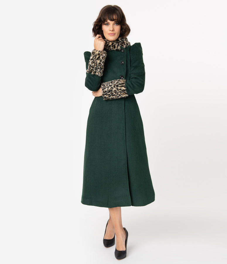 Voodoo Vixen 1940s Emerald Green & Leopard Fur Long Coat