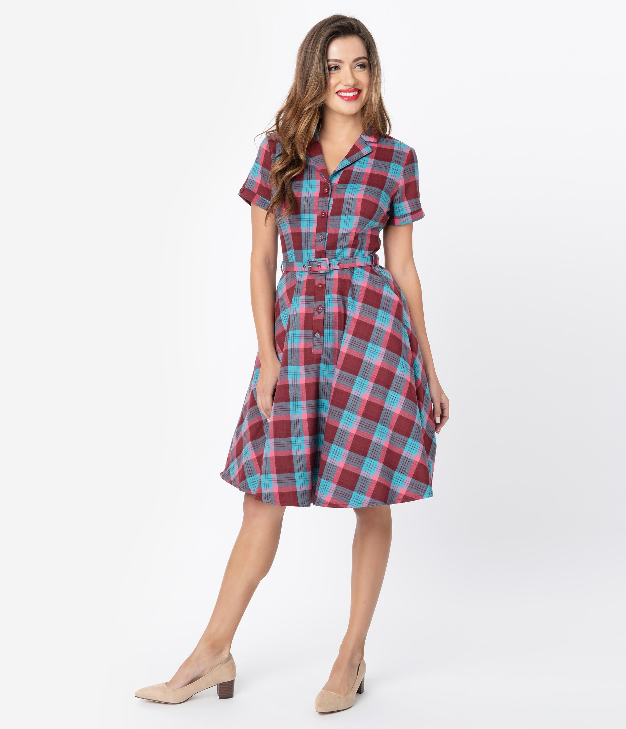 Fifties Dresses : 1950s Style Swing to Wiggle Dresses Voodoo Vixen 1950S Burgundy  Blue Plaid Button Up Swing Dress $88.00 AT vintagedancer.com