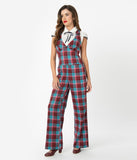 Voodoo Vixen 1970s Burgundy & Blue Plaid Buckle Strap Jumpsuit