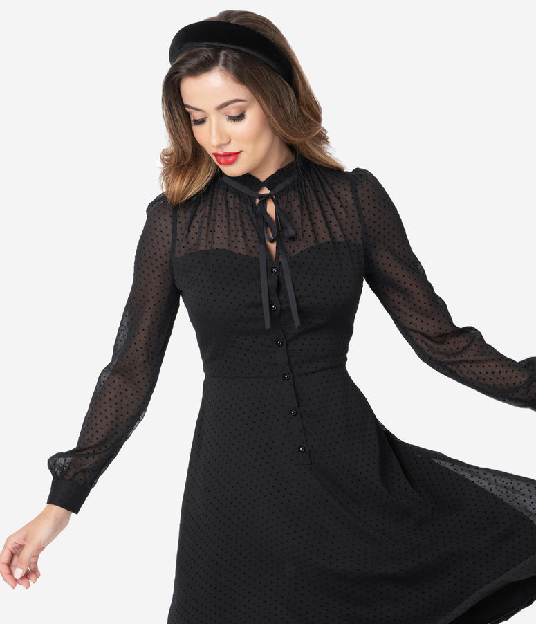 Voodoo Vixen x Acid Doll 1950s Black Swiss Dot Mesh Long Sleeve Dress