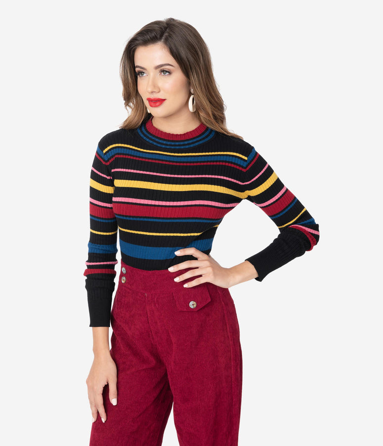 Voodoo Vixen Black & Multi Stripe Long Sleeve Knit Sweater