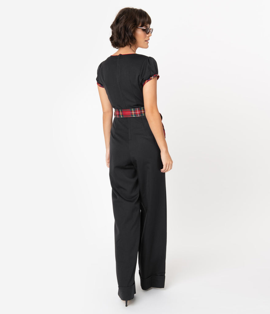 Voodoo Vixen 1970s Black & Red Tartan Accent Wide Leg Jumpsuit
