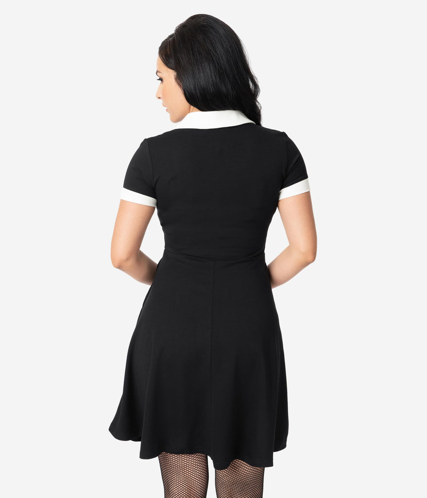 Black Knit & White Keyhole Placket Wednesday Fit & Flare Dress