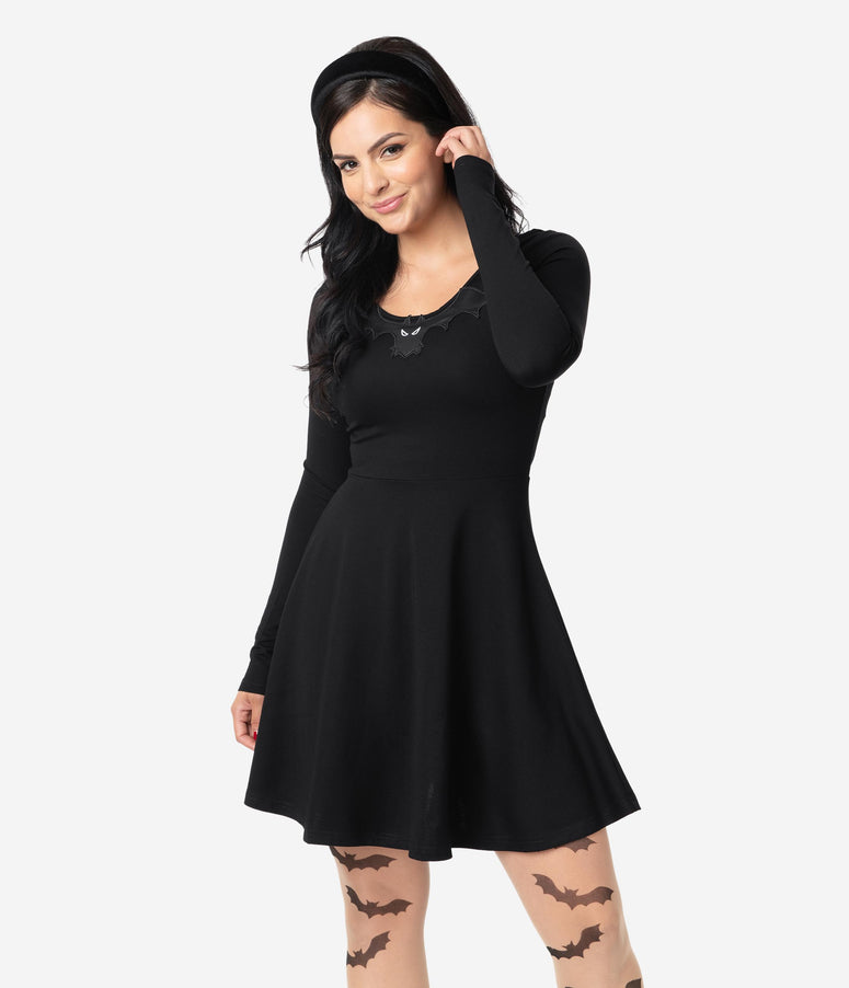 Black Knit Bat Embellishment Long Sleeve Fit & Flare Dress