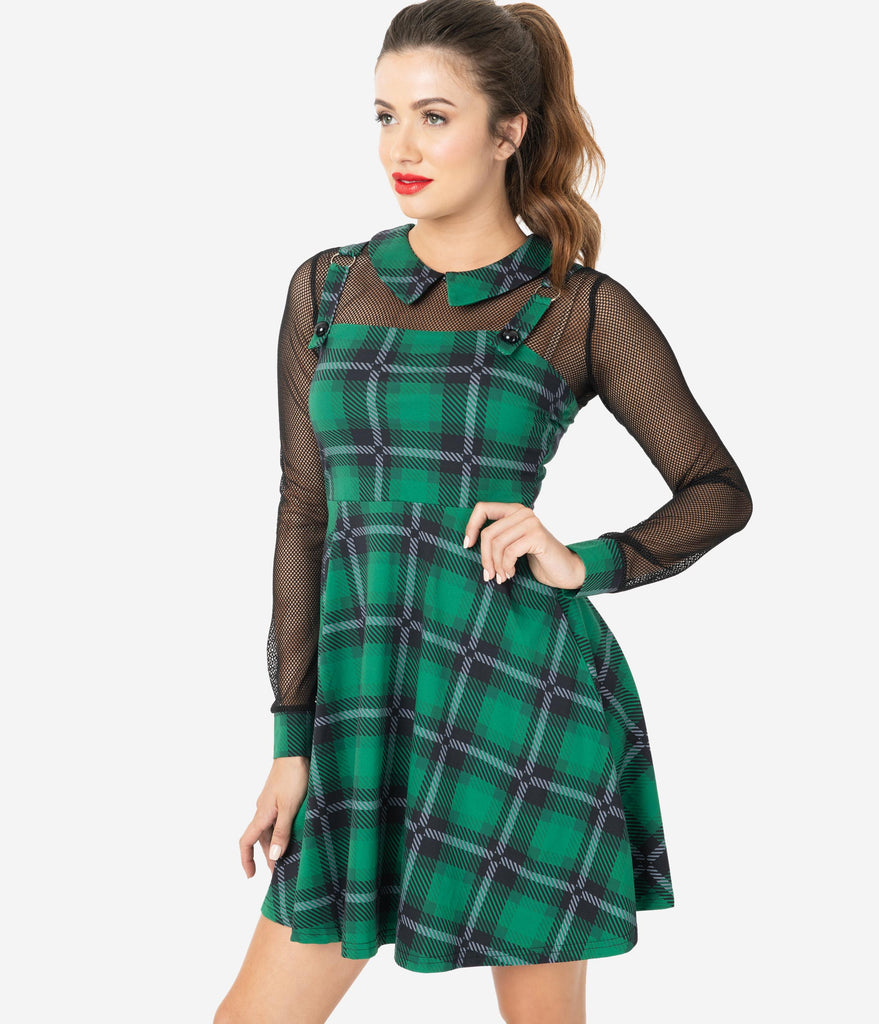 1960s Style Green & Black House Tartan Mesh Sleeve Fit & Flare Dress