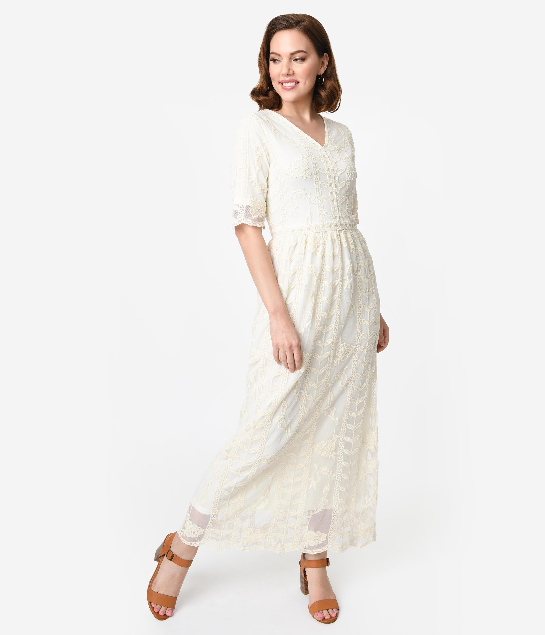 Old Fashioned Dresses | Old Dress Styles 1940S Style Antique Cream Lace Short Sleeved Long Dress $58.00 AT vintagedancer.com