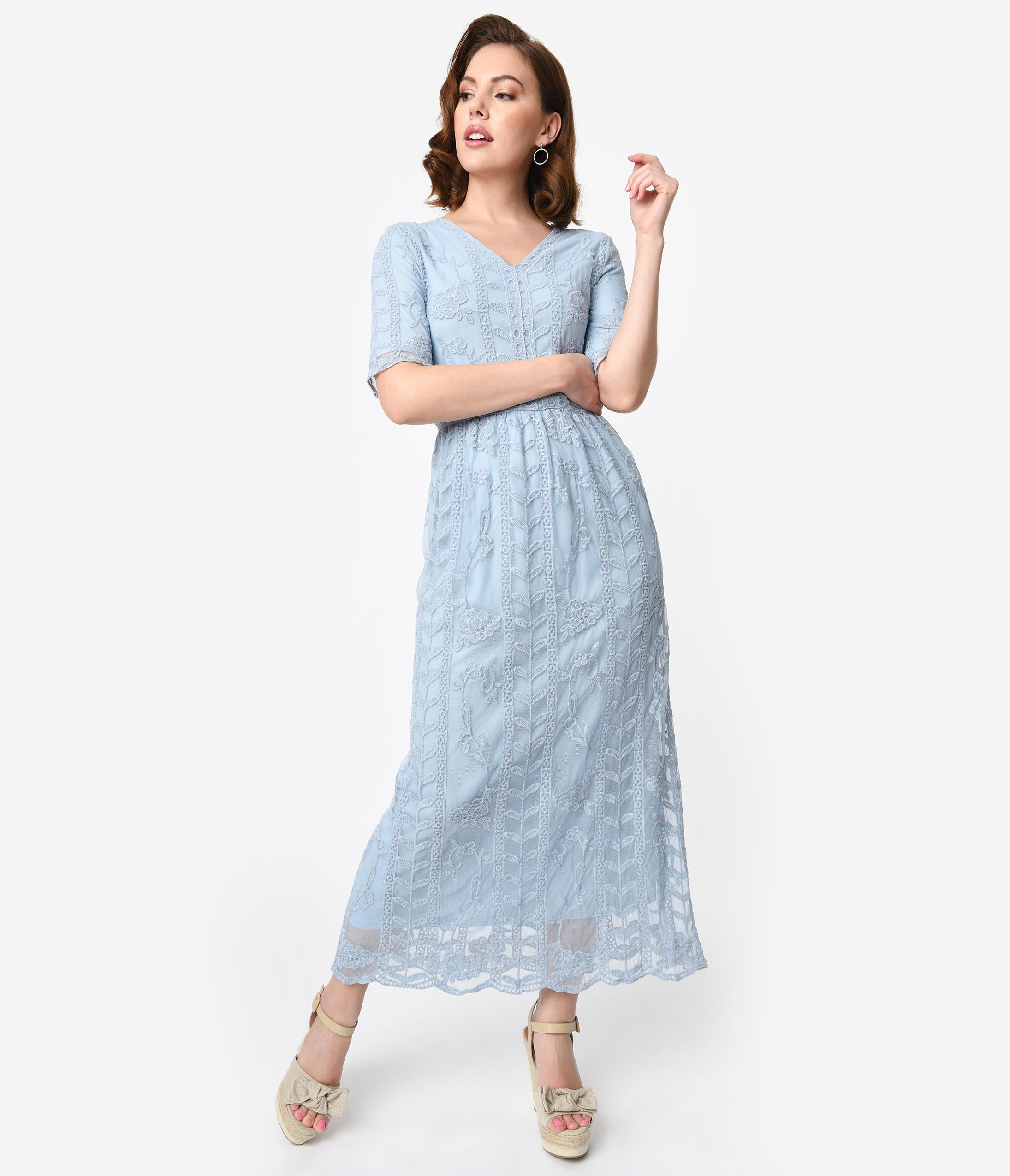 Vintage Tea Dresses, Floral Tea Dresses, Tea Length Dresses 1940S Style Antique Blue Lace Short Sleeved Long Dress $58.00 AT vintagedancer.com
