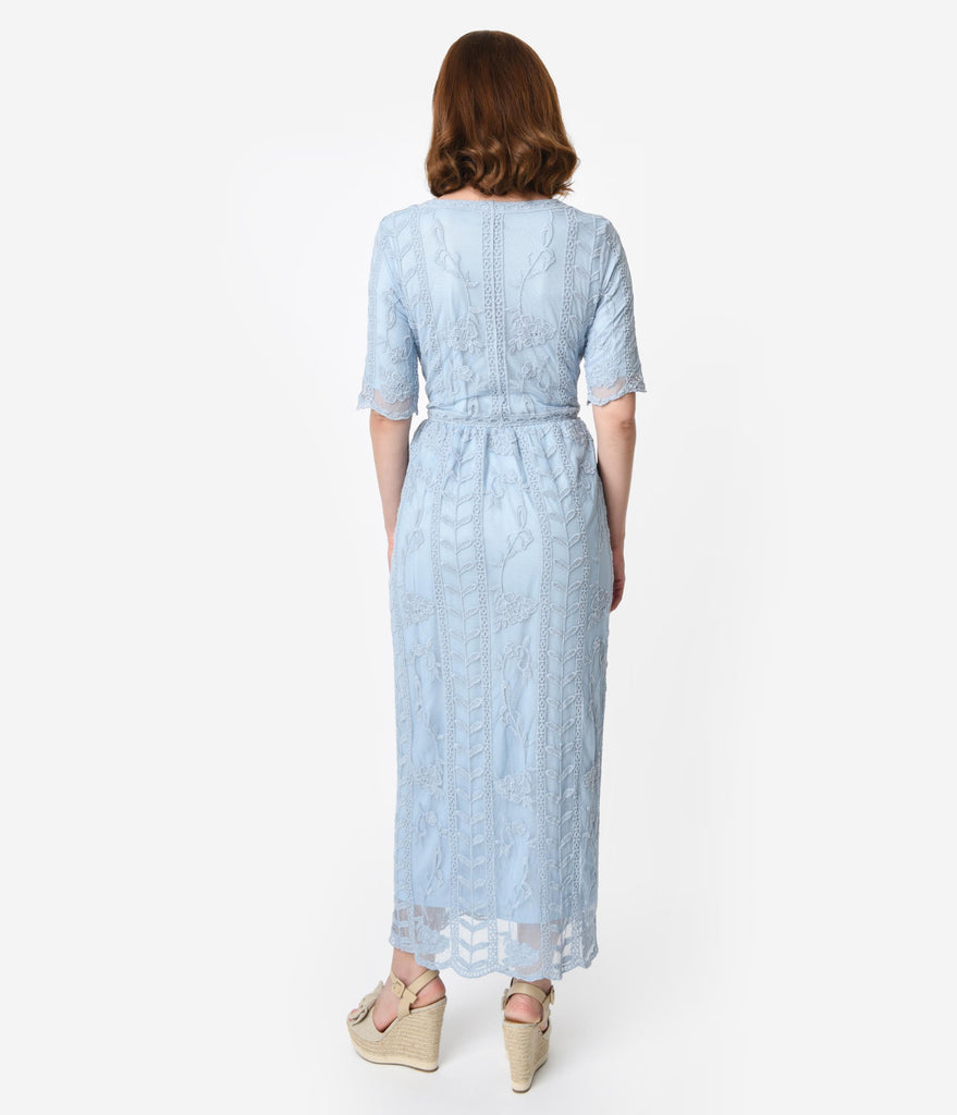 1940s Style Antique Blue Lace Short Sleeved Long Dress