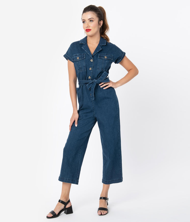 Voodoo Vixen 1940s Style Denim Blue Poppy Capri Coverall