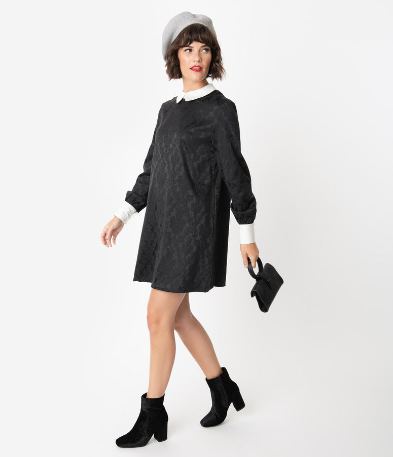 Black Woven Damask Long Sleeve Shift Dress