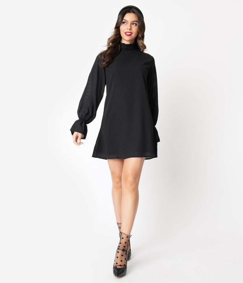 Black Striped Long Sleeve High Collar Shift Dress
