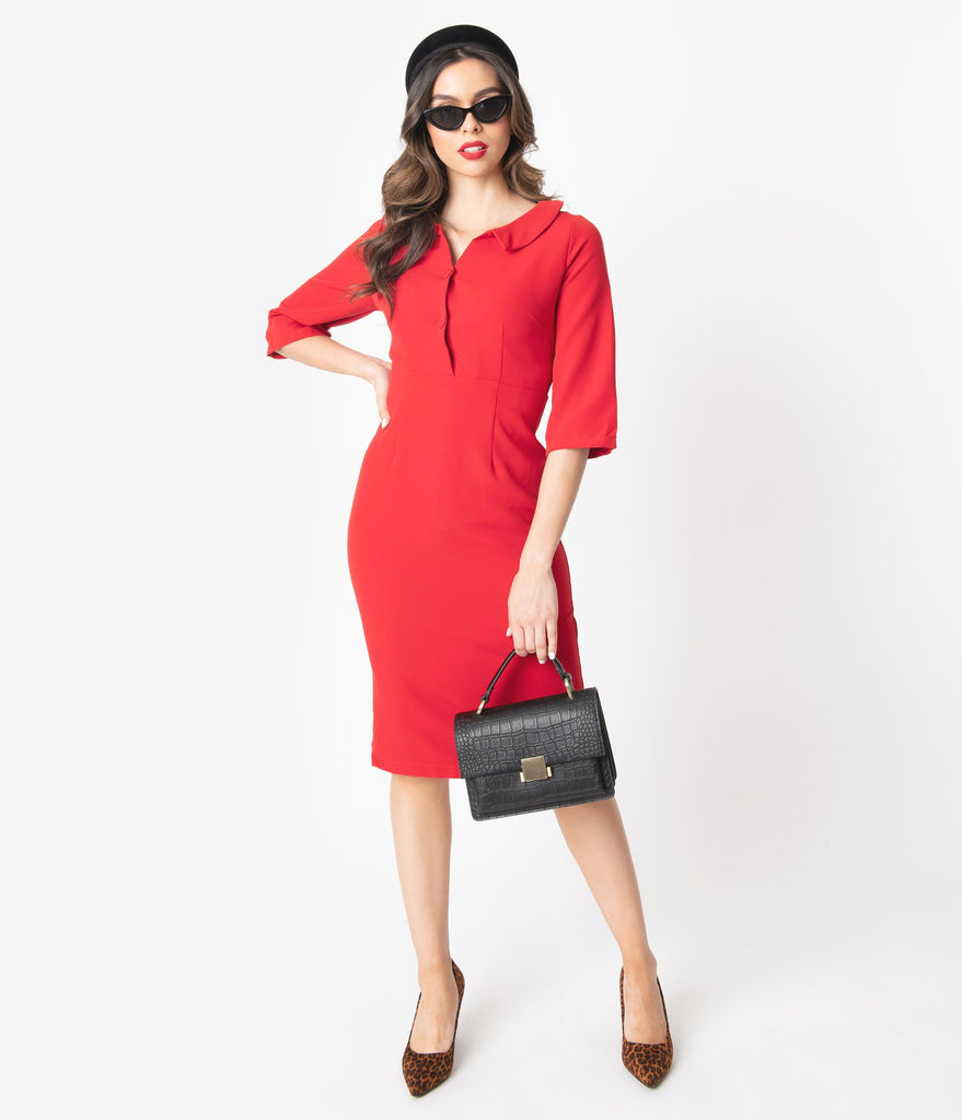 1960s Style Red Button Up Sleeved Pencil Dress