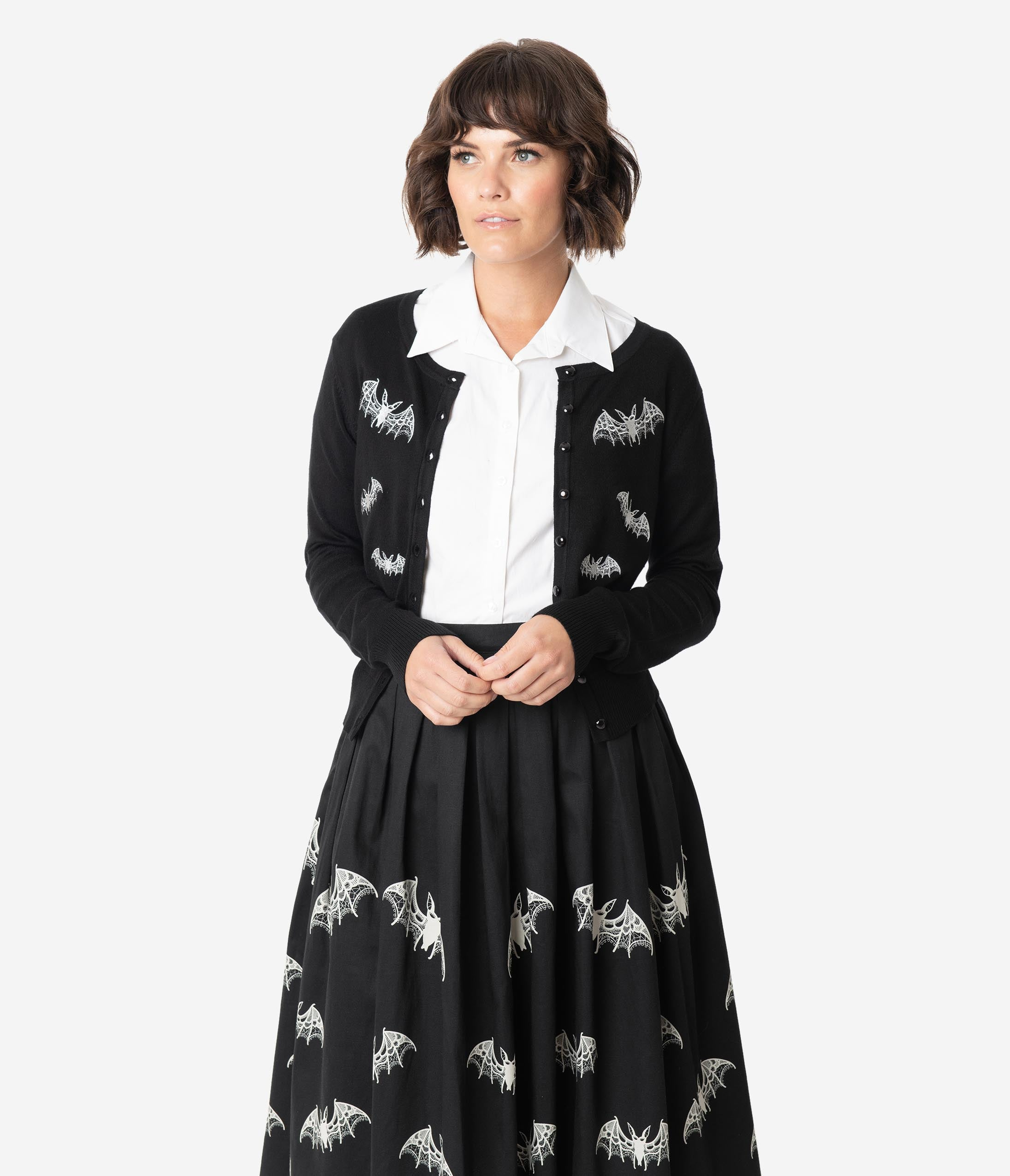 Easy Retro Halloween Costumes – Last Minute Ideas Retro Style Black  Ivory Embroidered Bats Knit Cardigan $48.00 AT vintagedancer.com