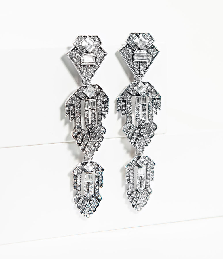 1920s Style Silver Rhinestone Nouveau Drop Earrings