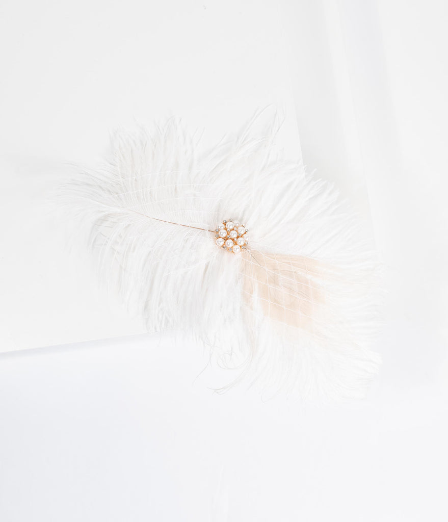 White & Ivory Feather Pearl Brooch Hair Clip