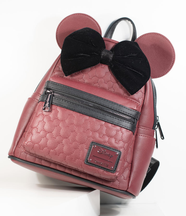 Loungefly Maroon Quilted Leatherette Minnie Mouse Mini Backpack
