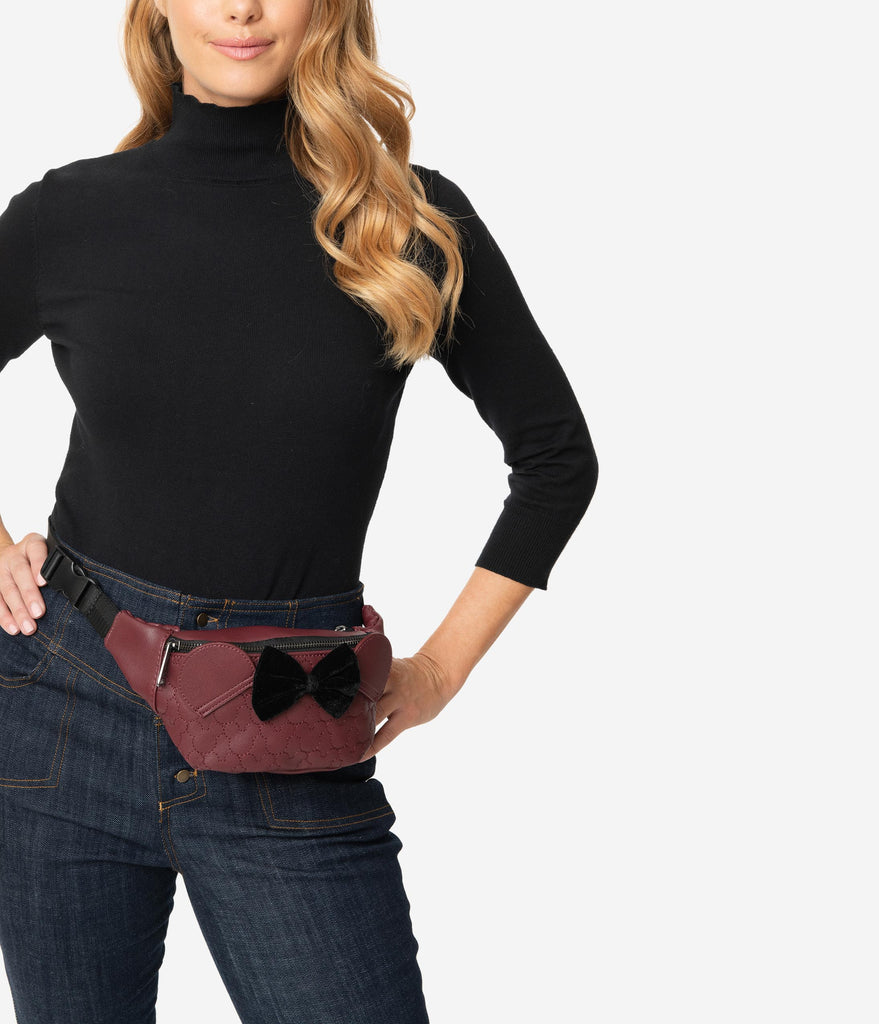 Loungefly Maroon Leatherette Minnie Mouse Quilted Fanny Pack