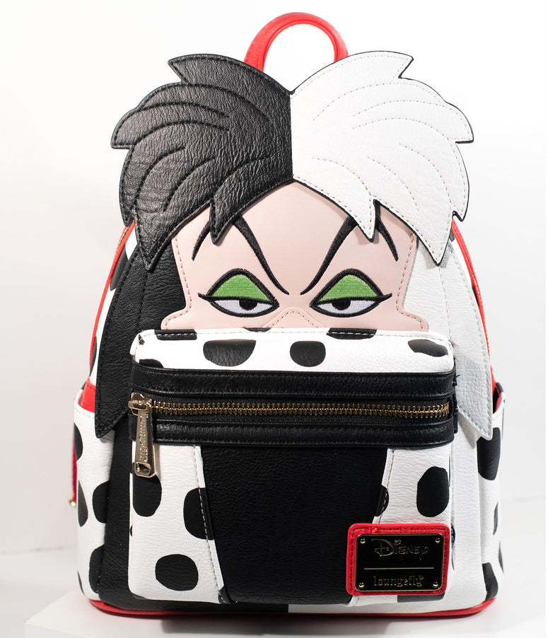 Loungefly Black & White Leatherette Cruella De Vil Mini Backpack