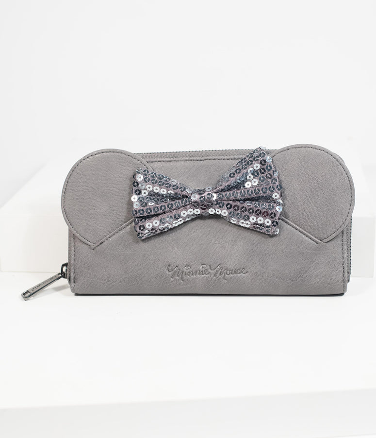 Loungefly Grey Leatherette Minnie Mouse Zipper Wallet