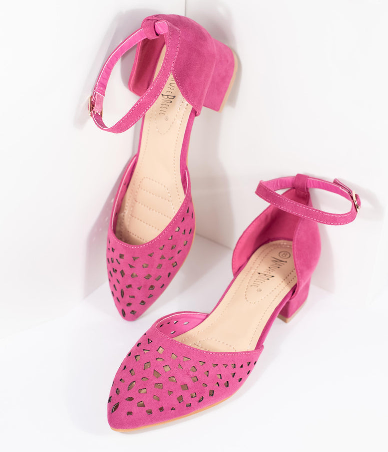 63d98b278ae0 Fuchsia Purple Suede Cutouts Pointed Toe Low Heels