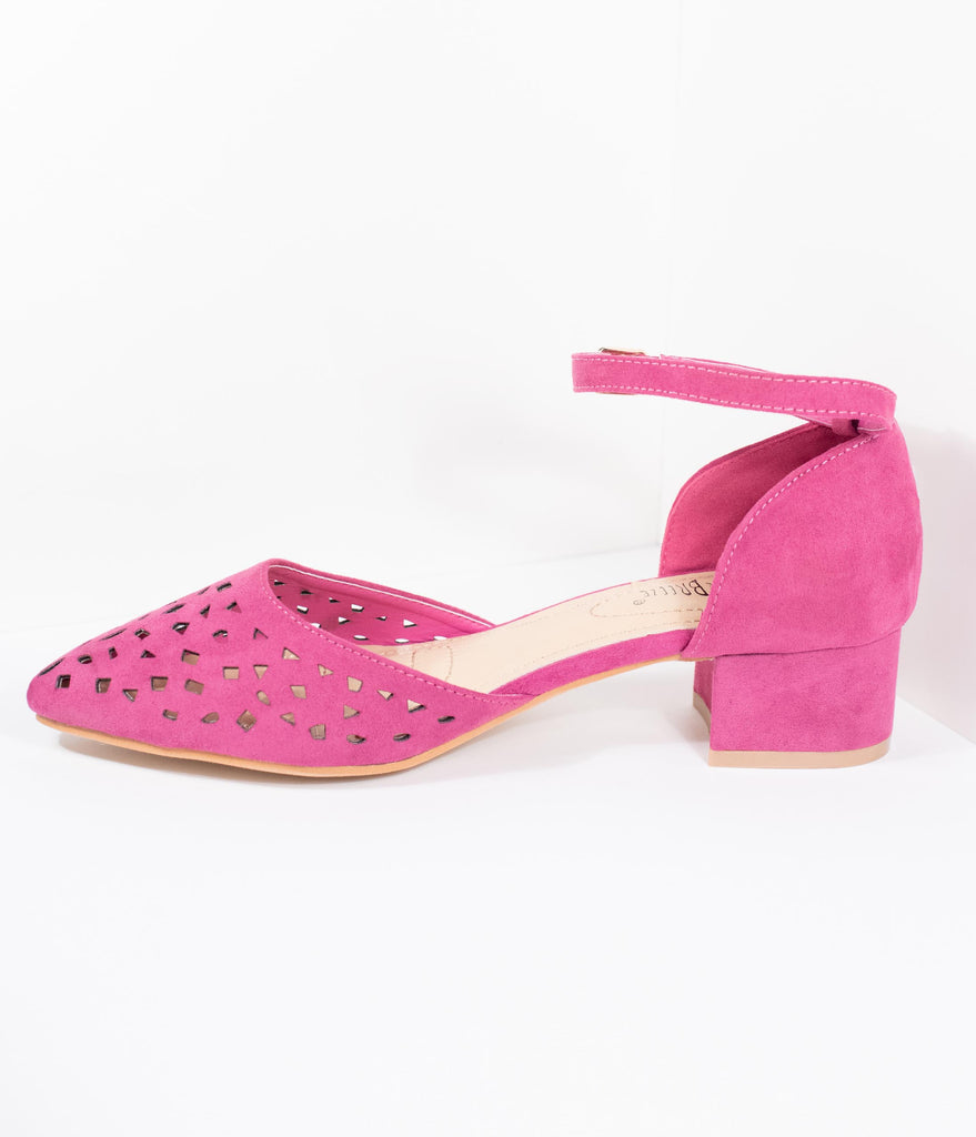 Fuchsia Purple Suede Cutouts Pointed Toe Low Heels