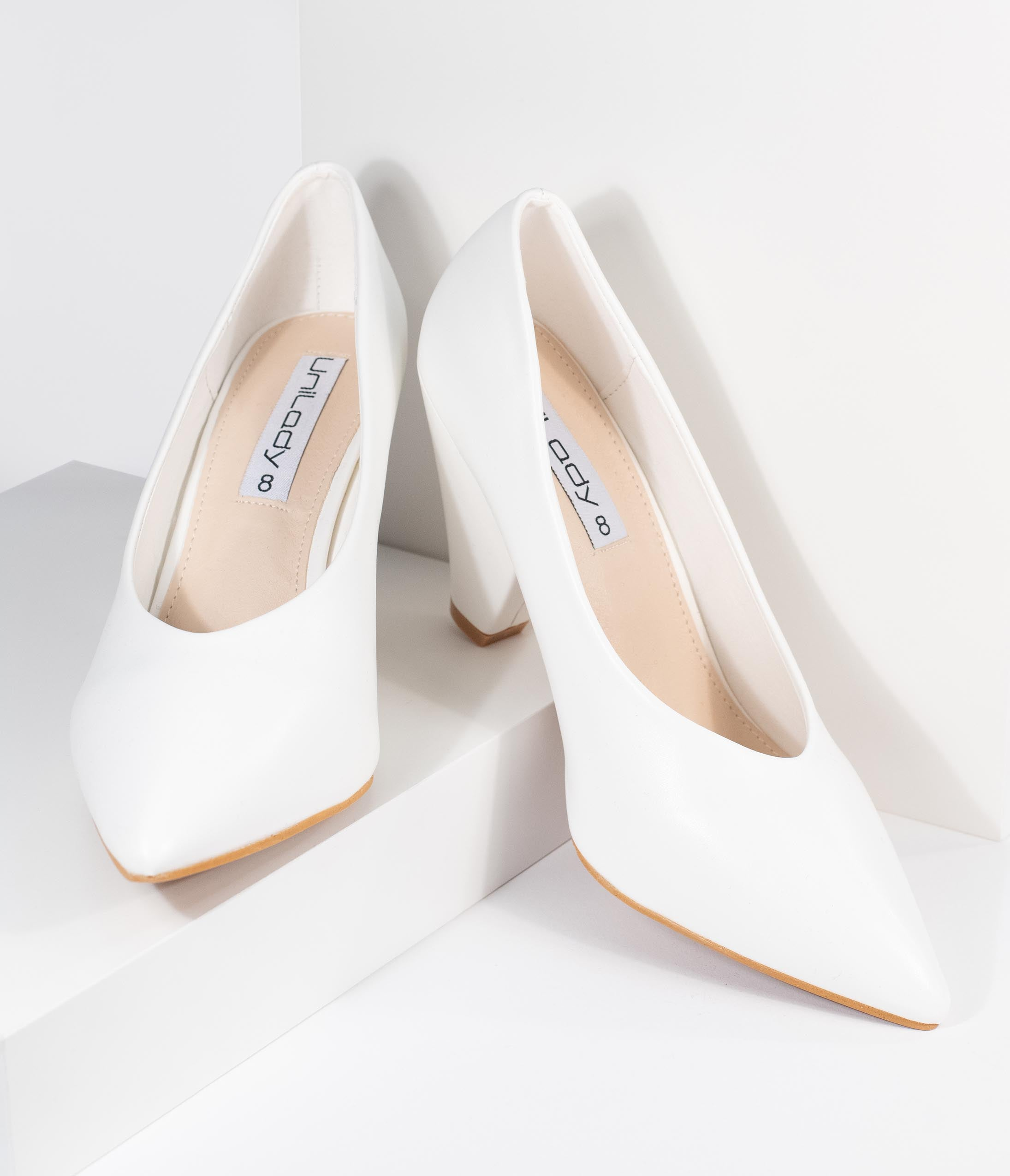 1950s Style Shoes | Heels, Flats, Saddle Shoes White Leatherette Pointed Toe Cone Heel Pumps $36.00 AT vintagedancer.com