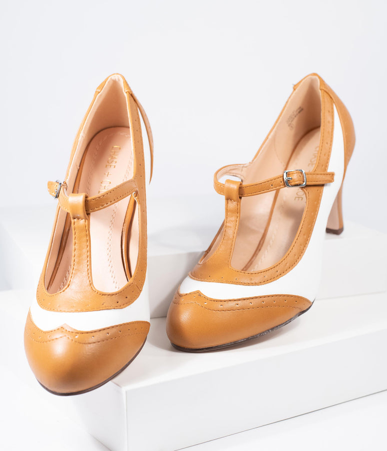 1940s Style Tan & Ivory Leatherette Spectator T-Strap Kimmy Pump