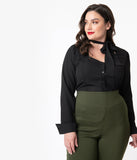 Unique Vintage Plus Size 1940s Style Black Crepe Neck Tie Fiona Blouse