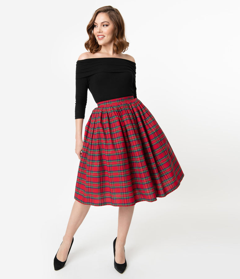 Unique Vintage 1950s Red Plaid Print High Waist Circle Swing Skirt