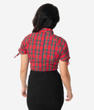 Unique Vintage 1940s Style Red Plaid Bow Tie Chita Blouse