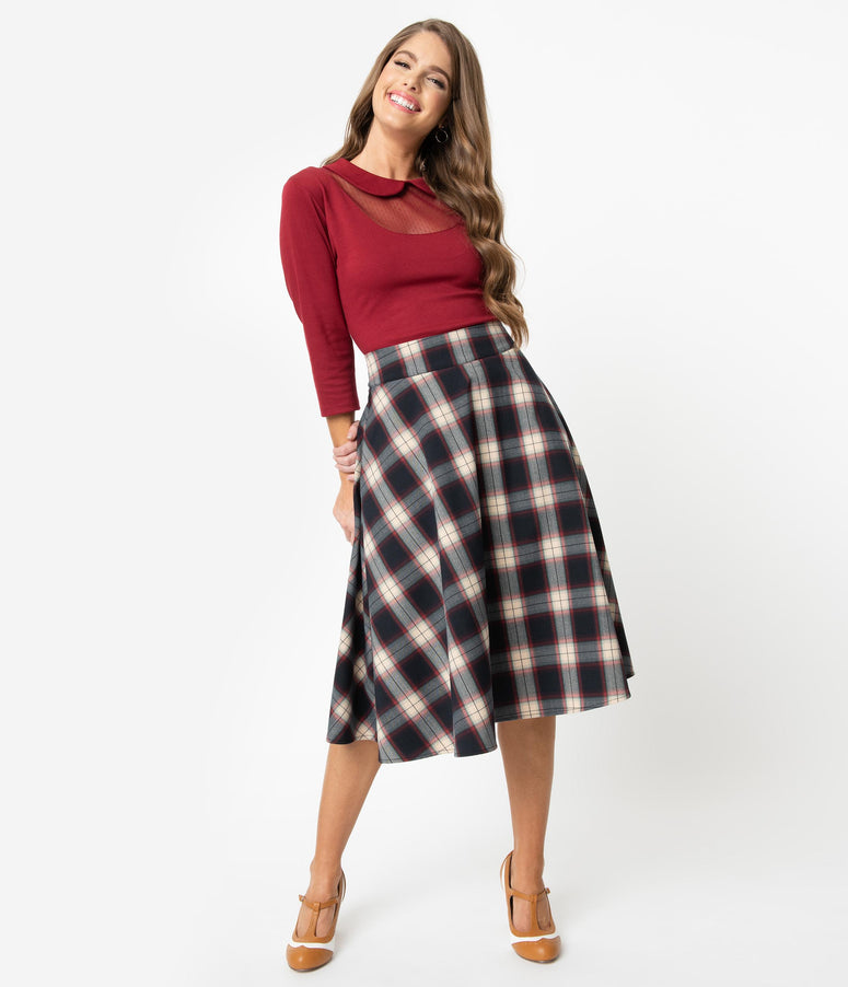 Unique Vintage Retro Navy & Red Plaid High Waist Vivien Swing Skirt