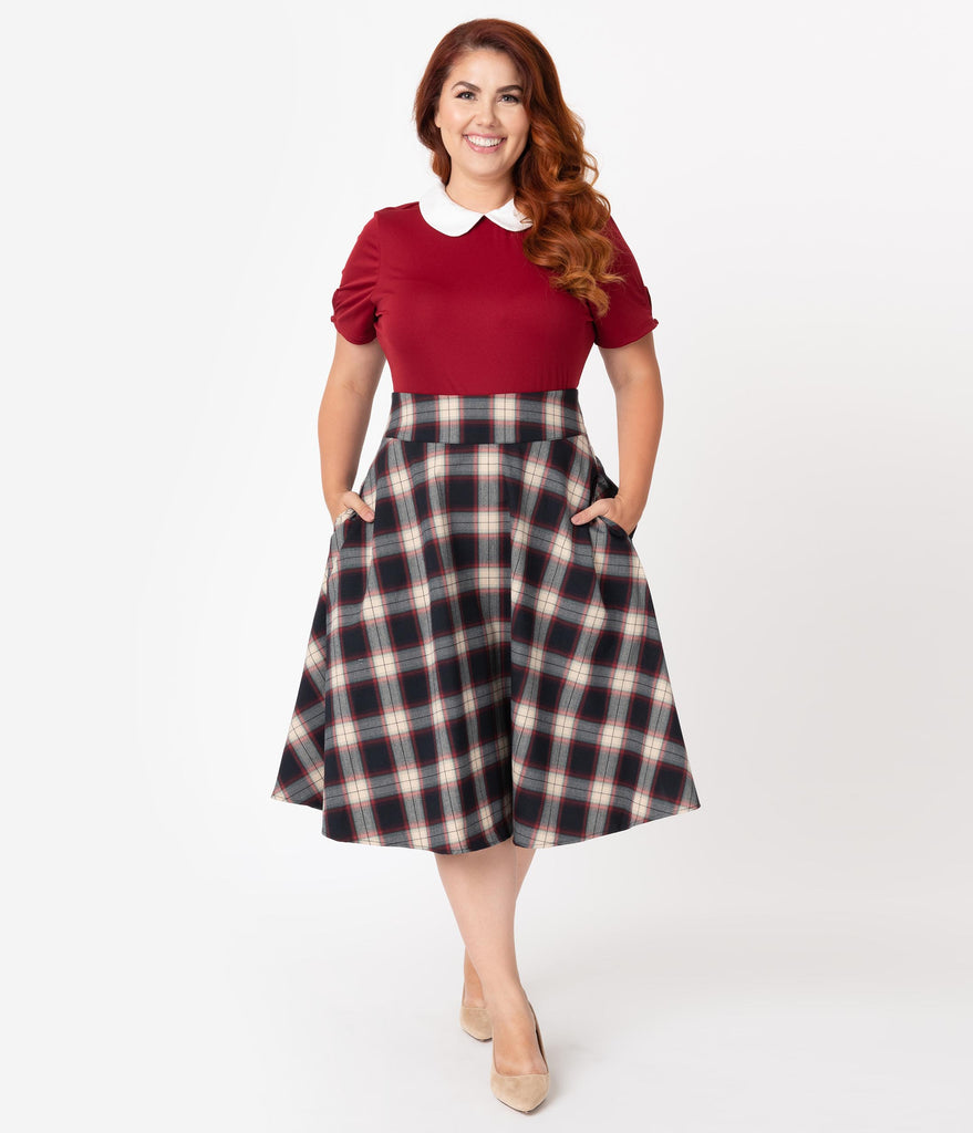 Unique Vintage Plus Size Retro Navy & Red Plaid High Waist Vivien Swing  Skirt