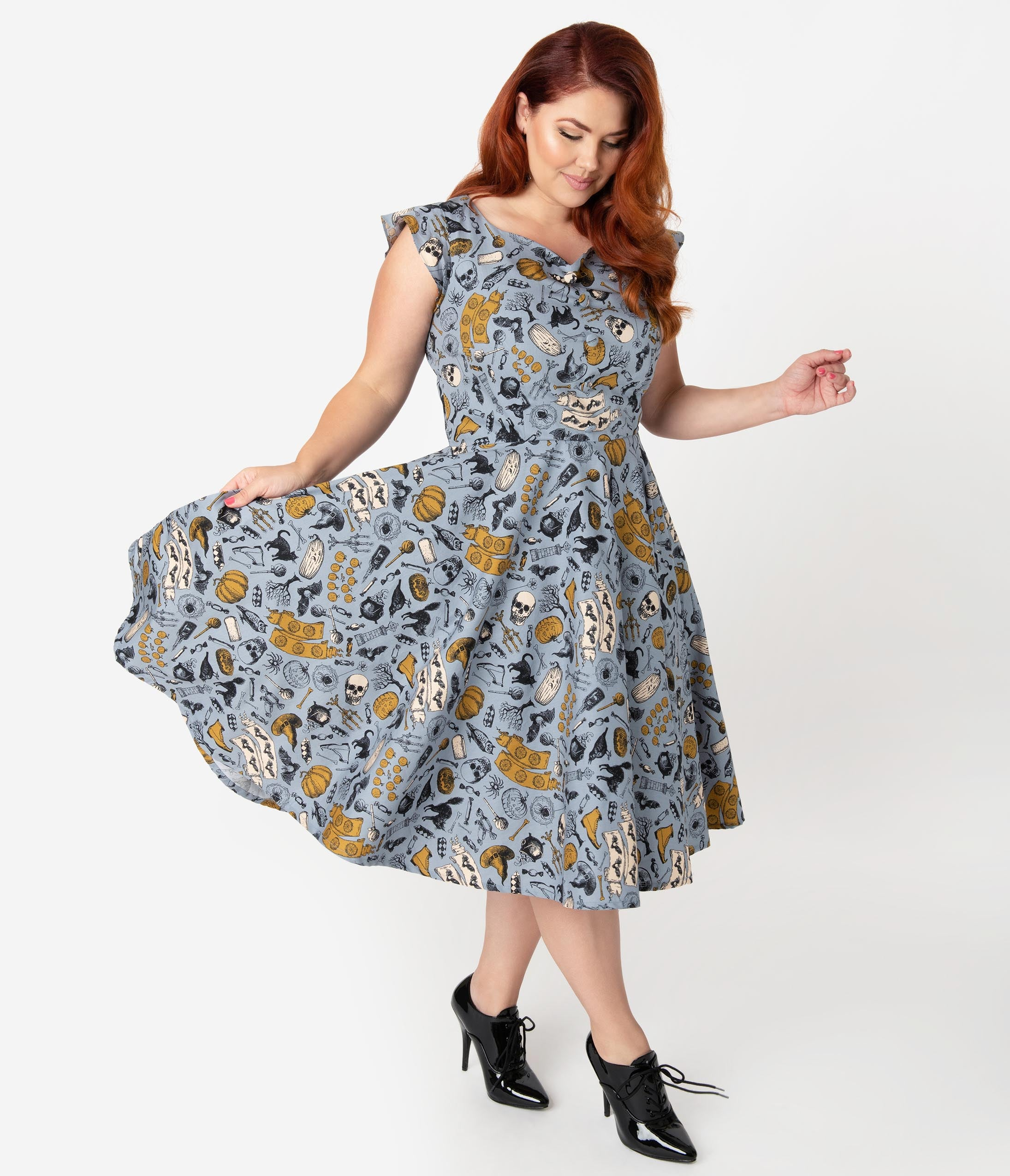50 Vintage Halloween Costume Ideas Plus Size 1950S Style Dusty Blue Halloween Print Judy Swing Dress $68.00 AT vintagedancer.com