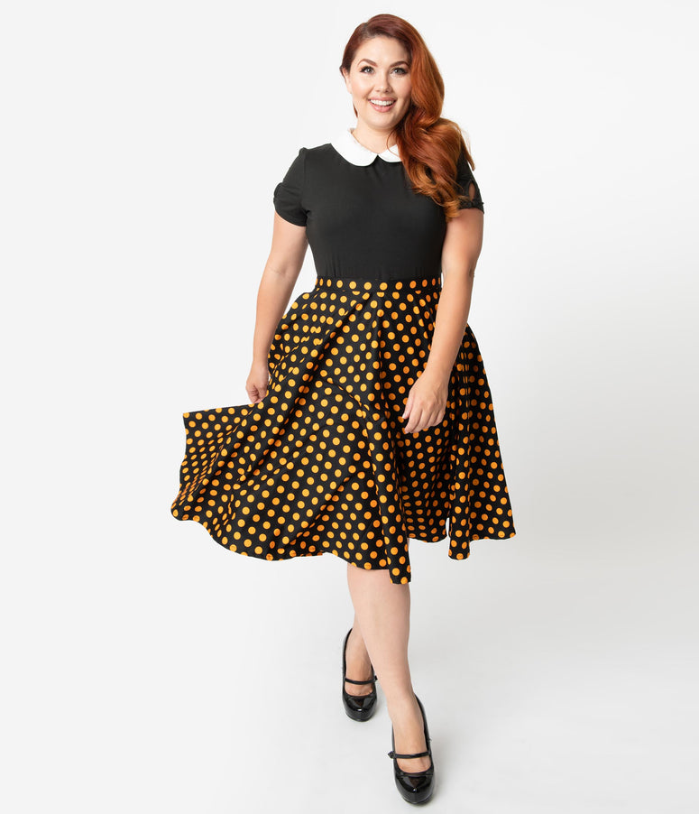 Plus Size 1950s Style Black & Orange Polka Dot Cotton Swing Skirt
