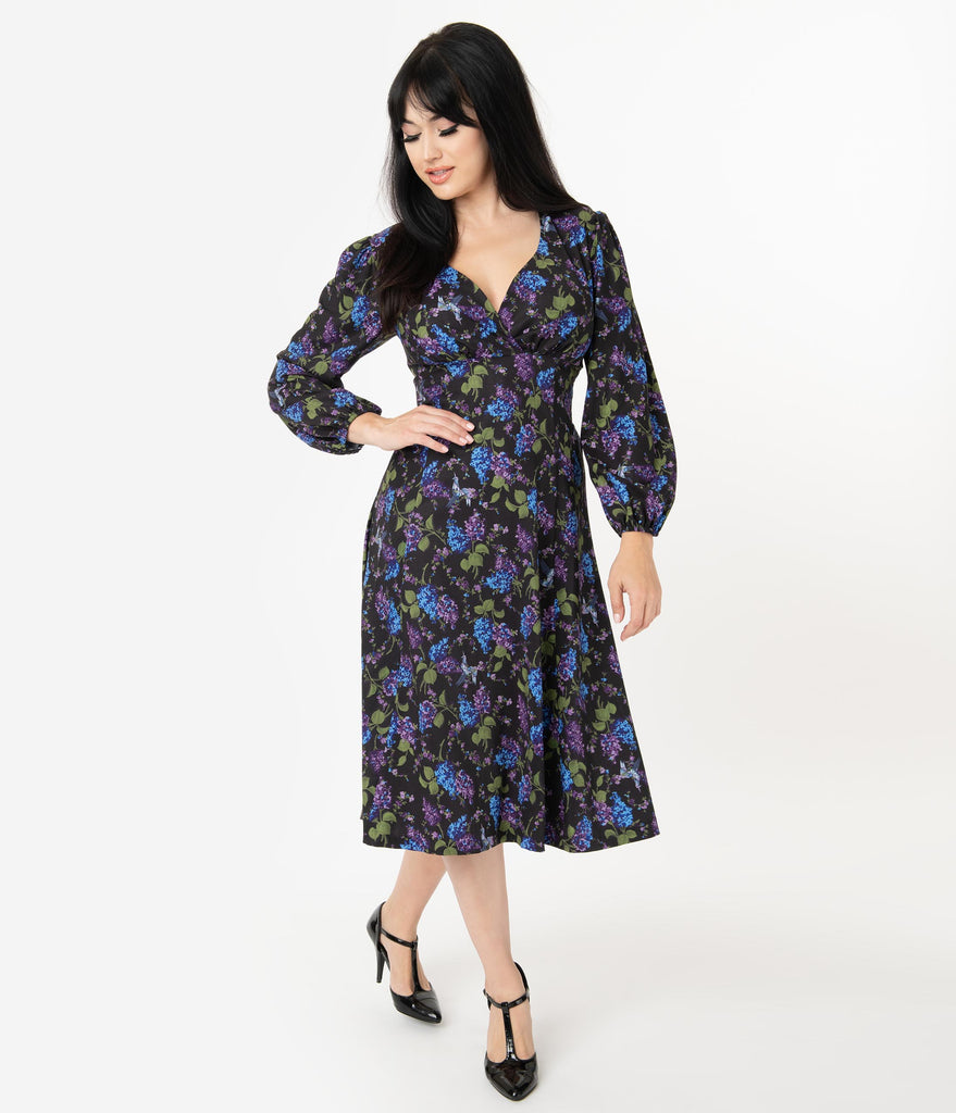 Micheline Pitt For Unique Vintage 1950s Style Floral & Origami Print Pris Swing Dress