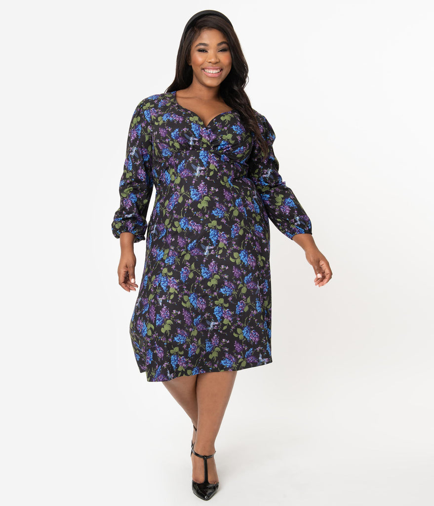 Micheline Pitt For Unique Vintage Plus Size 1950s Style Floral & Origami Print Pris Swing Dress