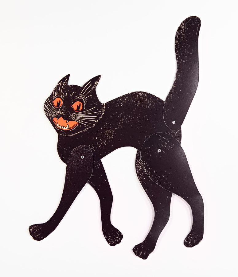 Vintage Style Black Scratch Cat Jointed Halloween Paper Decoration