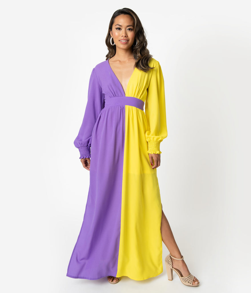 1970s Style Purple & Yellow Crepe Long Sleeve Maxi Dress