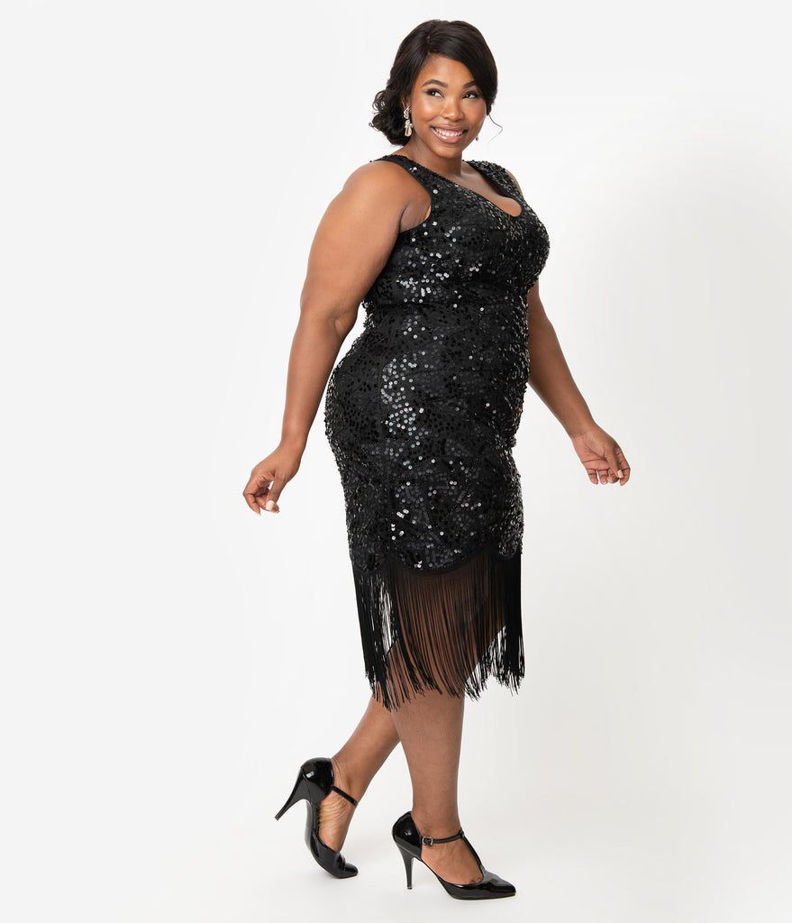 Unique Vintage Plus Size 1920s Style Black Beaded & Sequin Adalene Cocktail Flapper Dress