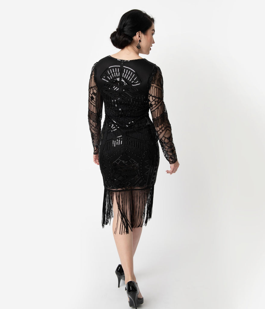 Unique Vintage 1920s Black Beaded Long Sleeve Fringe Celia Flapper Dress