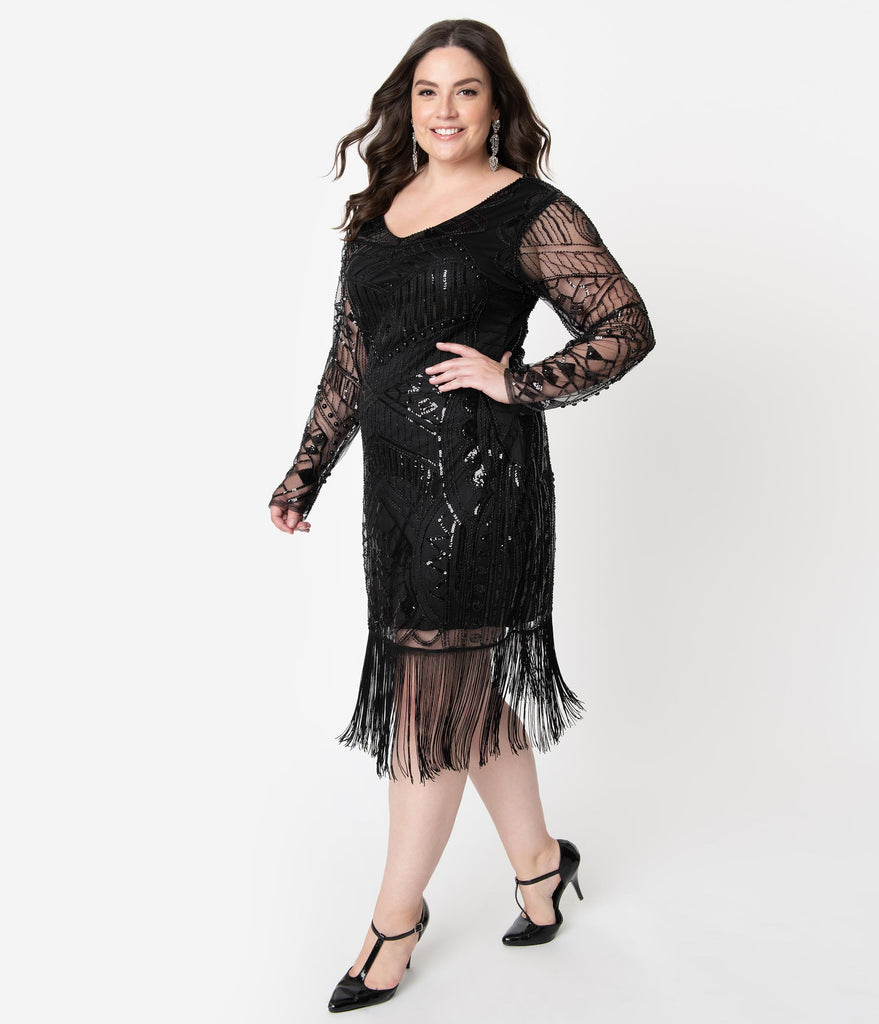 Unique Vintage Plus Size 1920s Black Beaded Long Sleeve Fringe Celia Flapper Dress