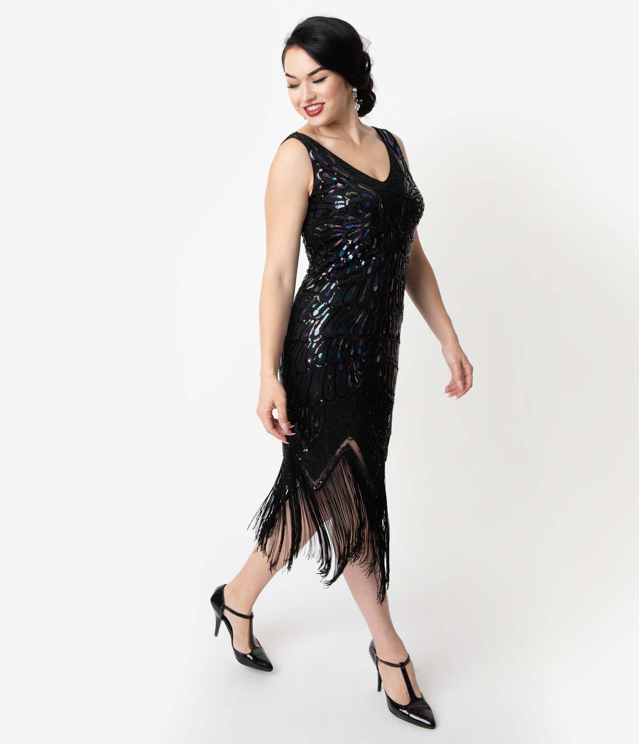 Flapper Dresses & Quality Flapper Costumes Unique Vintage Black Iridescent Sequin Sleeveless Marion Flapper Dress $88.00 AT vintagedancer.com